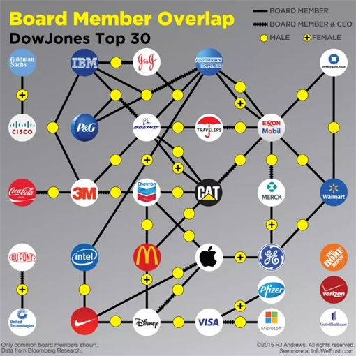 DJIA Top-30 Companies' Spider Web Interconnecting Board Of Directors | FinanceTwitter