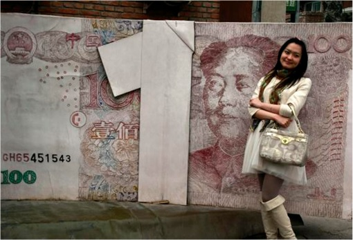 Girl Standing in Front of Giant China Yuan Note