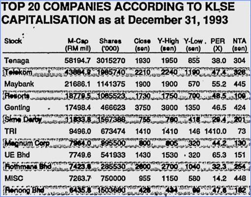 KLSE 1993 Super Bull Run - Top 20 Companies