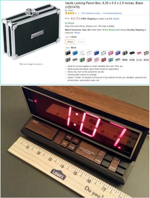 Ahmed Mohamed Bomb Lookalike Clock - digital alarm clock by Radio Shack - vaultz locking pencil box - Amazon and eBay
