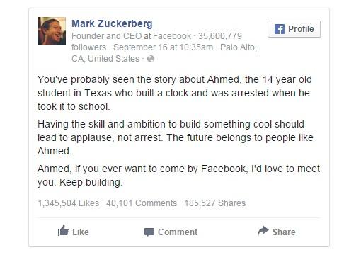 Ahmed Mohamed - Mark Zuckerberg Facebook Posting
