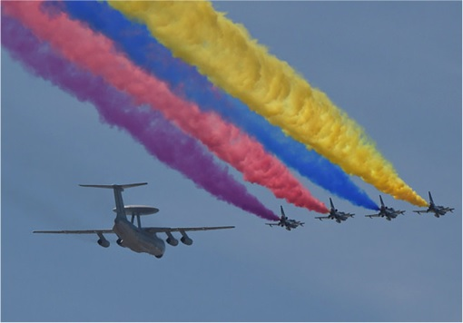 China Beijing commemorates 70th anniversary of Japan World War II defeat - Air Planes - Blue Sky
