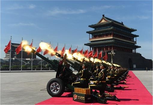 China Beijing commemorates 70th anniversary of Japan World War II defeat - Gun Salute