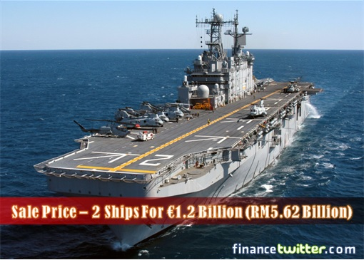 France Mistral Helicopter Carriers - Sale Price Euro 1.2 Billion For Two Ships