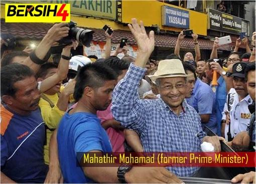 Mahathir Visits Bersih 4 Rally