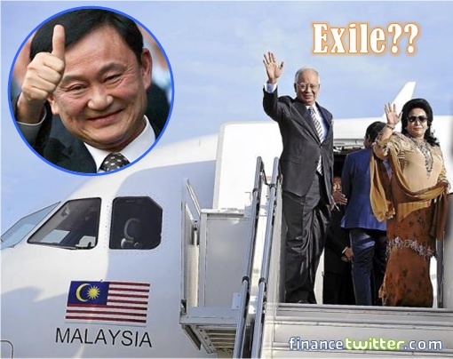Najib and Rosmah on Plane - Exile - Thaksin Inset