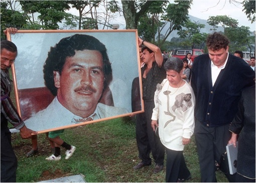 Pablo Escobar - Potrait Carried by Mourners
