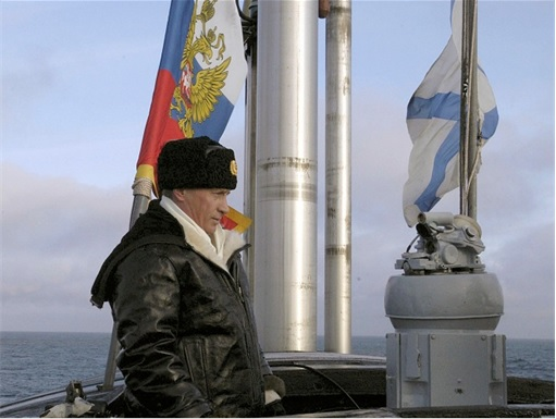 Putin on Russian Navy Ship