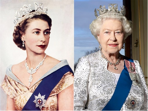 Queen Elizabeth II Wearing Crown - Young and Old