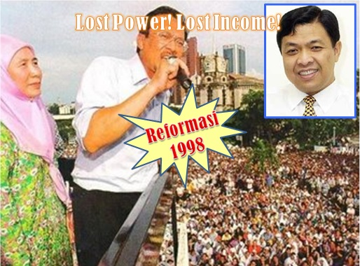 Reformasi 1998 - Anwar Ibrahim and Zahid Hamidi - Lost Power and Income