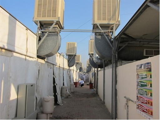 Saudi Arabia Empty Air-Conditioned Tents - Pathway View