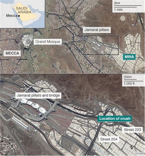 Saudi Stampede - Google Map - Jamarat Pillars and Location of Crush