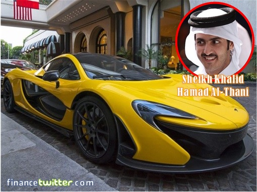 Sheikh-Khalid-Hamad-Al-Thani Inset with Yellow Ferrari LaFerrari