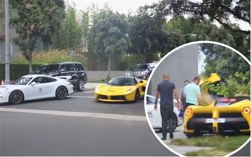 Sheikh-Khalid-Hamad-Al-Thani Racing in Beverly Hills - Yellow LaFerrari and White Porsche 911 GT3 (Ferrari Smoking Inset)