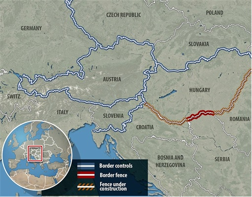 Syrian Refugees Crisis - Hungary Builds Fence - Map