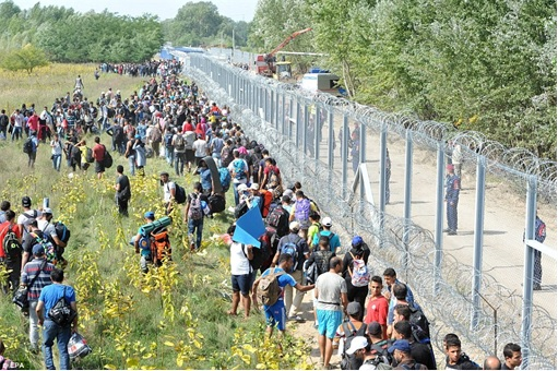 Syrian Refugees Crisis - Hungary Police Guard Fence from Syrians