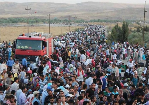Syrian Refugees Running Away