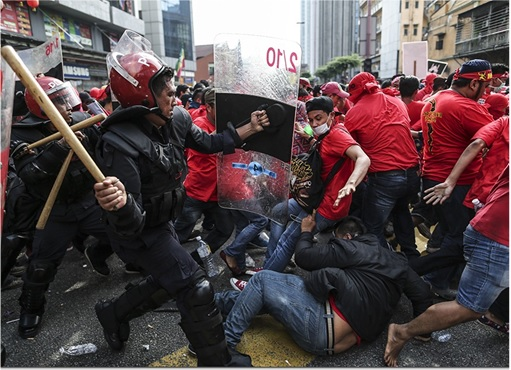 UMNO Red Shirts Rally Charming Message - Police Beating Red Shirts