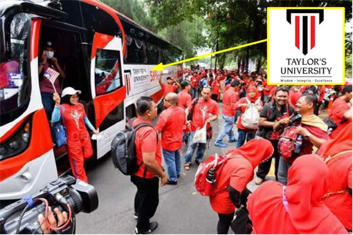 UMNO Red Shirts Rally - Taylor University Bus Transporting Participants