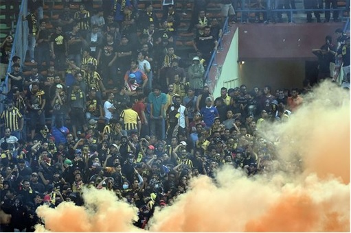 World Cup qualifier between Malaysia and Saudi Arabia - Flares and Fireworks Attack - 1