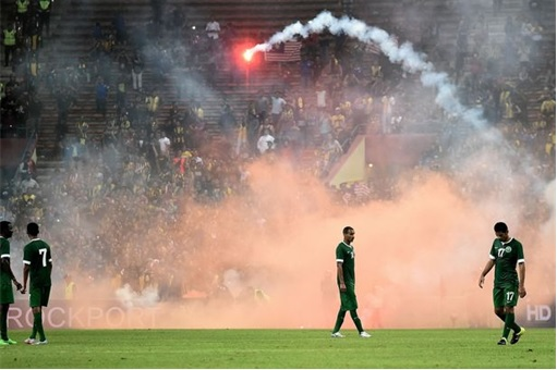World Cup qualifier between Malaysia and Saudi Arabia - Flares and Fireworks Attack - 2