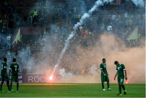 World Cup qualifier between Malaysia and Saudi Arabia - Flares and Fireworks Attack - 3