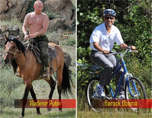 Barack Obama Cycling vs Vladimir Putin Horse Riding Bare Chested