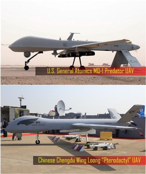 "China Military - Chinese Chengdu Wing Loong ""Pterodactyl"" UAV and US General Atomics MQ-1 Predator UAV"