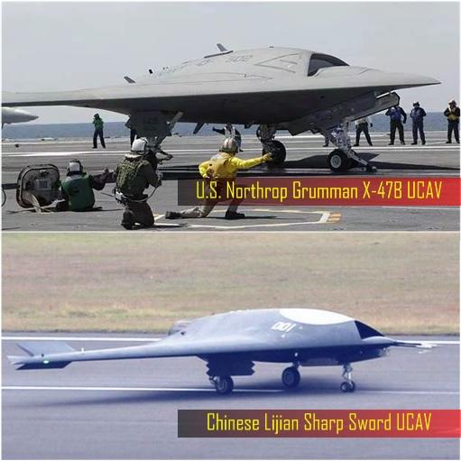 China Military - Chinese Lijian Sharp Sword UCAV and US Northrop Grumman X-47B Unmanned Combat Air Vehicle UCAV