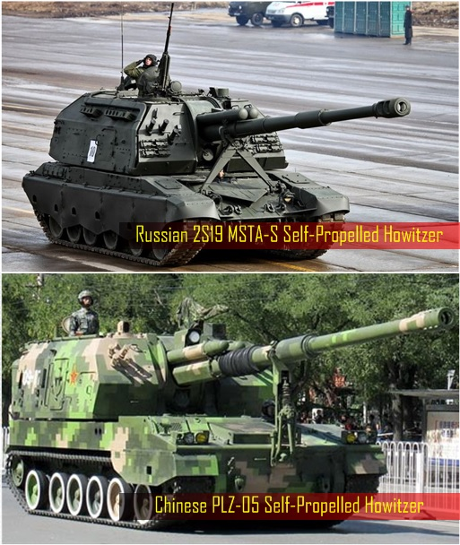 China Military - Chinese PLZ-05 Self-Propelled Howitzer and Russian 2S19 MSTA-S Self-Propelled Howitzer