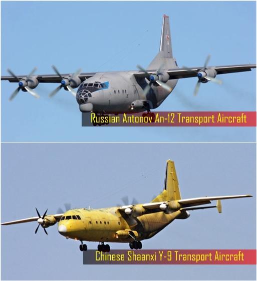 China Military - Shaanxi Y-9 Transport Aircraft and Russian Antonov An-12 Transport Aircraft