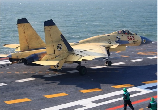 China  Shenyang J-15 Jet Fighters Landing on Aircraft Carrier