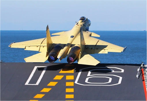 China  Shenyang J-15 Jet Fighters Taking Off from Aircraft Carrier