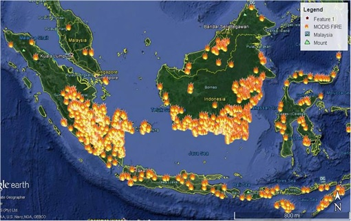 Haze Crisis - Google Earth Shows Fire Spots