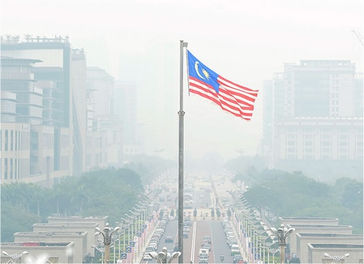 Haze Crisis - Malaysia Flag Flying in Haze Condition