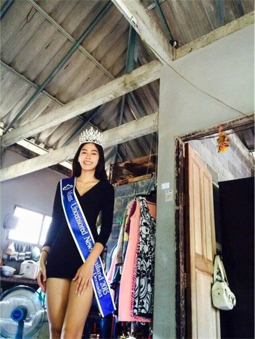 Miss Uncensored News Thailand 2015 - Khanittha Mint Phasaeng - At Shack Home Wearing Tiara and Sash