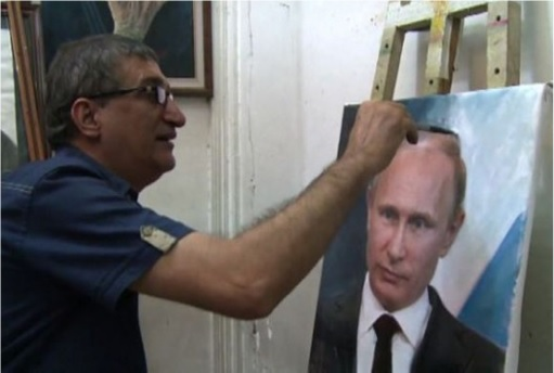 Putinmania - Iraqi Drawing Putin Portrait