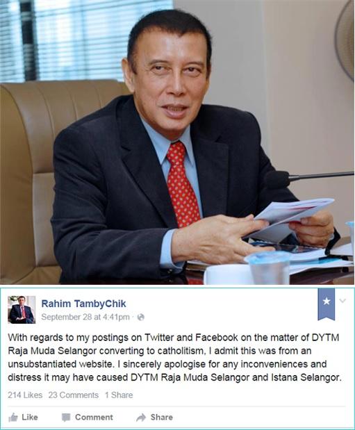 Rahim Thamby Chik - Apologise To Selangor Palace Facebook Posting