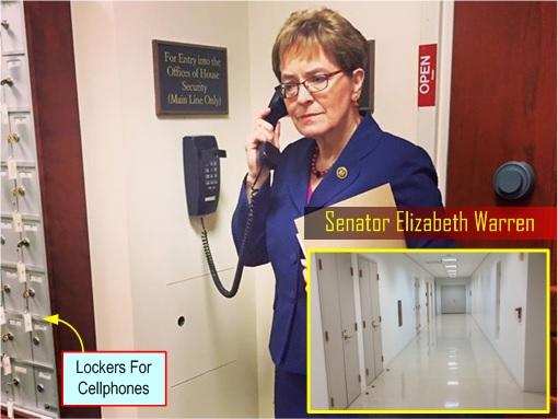Senator Elizabeth Warren - Accessing TPPA classified soundproof reading room - basement US Capitol building