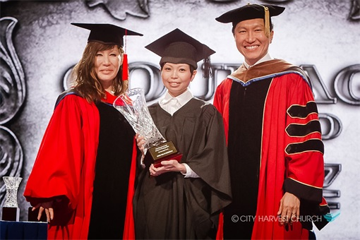 Singapore City Harvest Church - founder Kong Hee and wife Sun Ho - Graduation