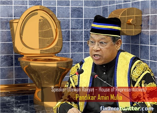 Speaker Pandikar Amin Mulia - Gold-plated Toilet