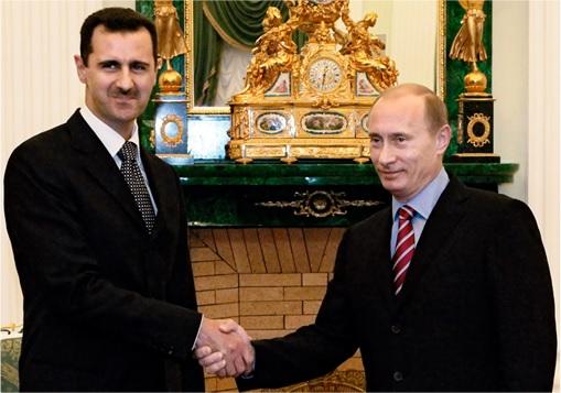 Syria Airstrikes - Putin Shake Hands with Assad