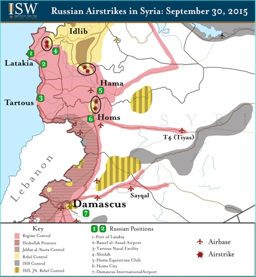 Syria Airstrikes - Russia Bombing Rebels Map