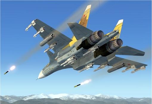 Syrian-Terrorist War - Russian Sukhoi Su-30 - Firing Missiles
