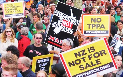 Trans-Pacific Partnership Agreement TPPA - Kiwi New Zealand Protesters