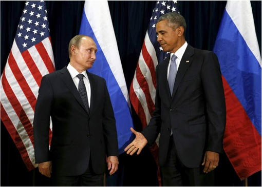United Nations General Assembly - Obama Shake Hands with Putin