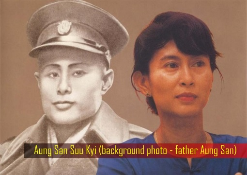 Aung San Suu Kyi - background photo - father Aung San