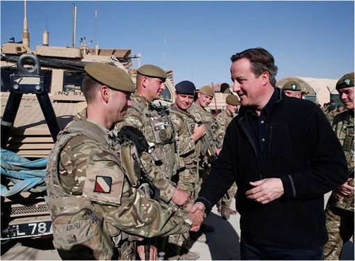 British Prime Minister David Cameron Shake Hand with Soldiers
