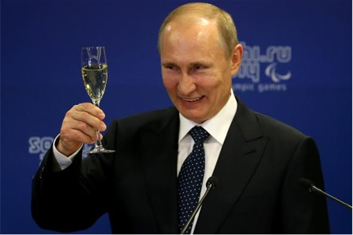 Forbes 2015 Most Powerful Man - Putin Smile Toasting