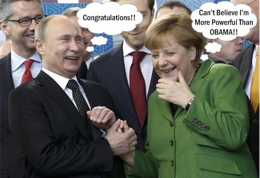 Forbes 2015 Most Powerful Man - Putin and Merkel Happily Celebrating